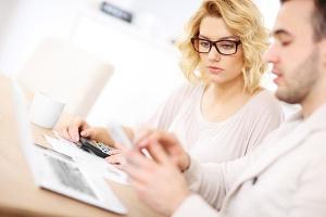 couple examining finances