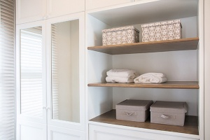 Built in shelves and storage